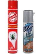 Insecticidas en spray, aflojatodo, limpiador mopas